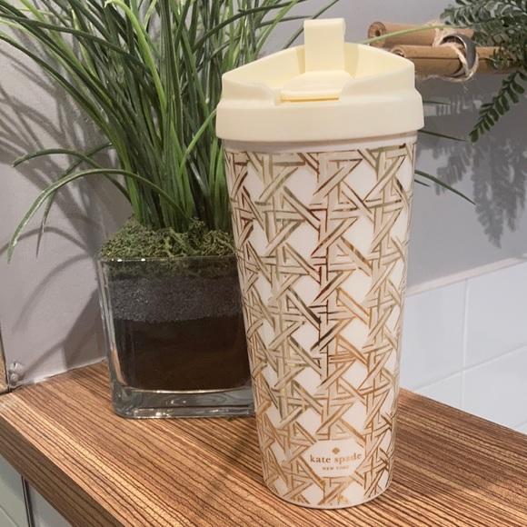 KATE SPADE Thermal travel mug 16oz cream and gold